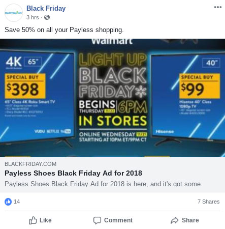 example of holiday seasonal ecommerce marketing on facebook