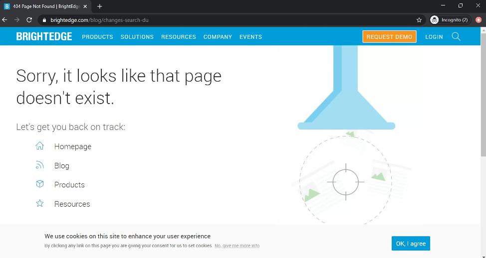 BrightEdge 404 status code page