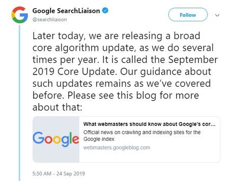google core update announced for Sept 24th - brightedge