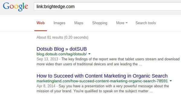 Google Search Operators Link search - brightedge