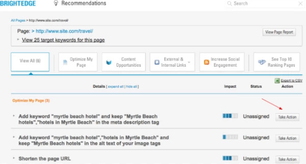 BrightEdge Recommendations make it easy to assign important tasks