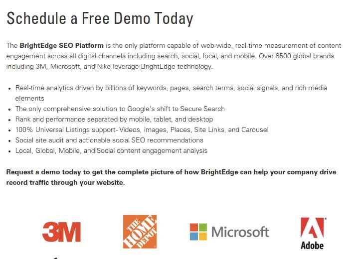 Schedule a Demo to learn how building a landing page with seo in mind works - brightedge