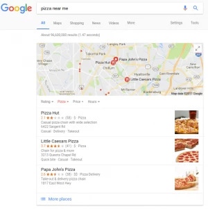 local serp with brick and mortar reviews after google algorithm change - brightedge