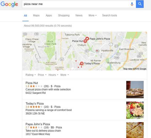 pizza near me google local example - brightedge