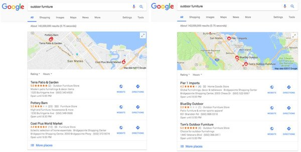 brightedge example of hyperlocal search results