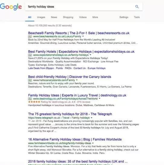 "keyword clustering: a search for ""family holiday ideas"" on Google - brightedge"