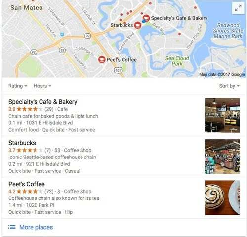 local 3-pack example serp for local search - brightedge