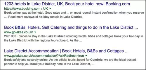 book a holiday in cumbria search results page - brightedge marketing tactics