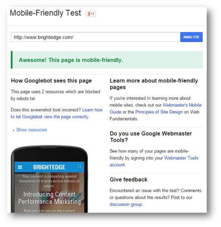 mobile friendly testing with brightedge