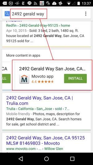 mobile App Indexing serp example - brightedge