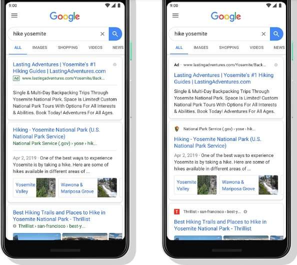 google announced changes to their mobile serp recently, brightedge demonstrates the visual differences here