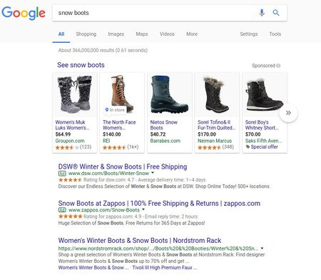 Example of a vertical search new ad format - brightedge