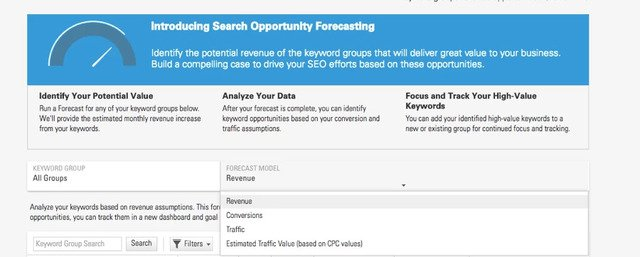 seo opportunity forecasting dashboard in the brightedge platform