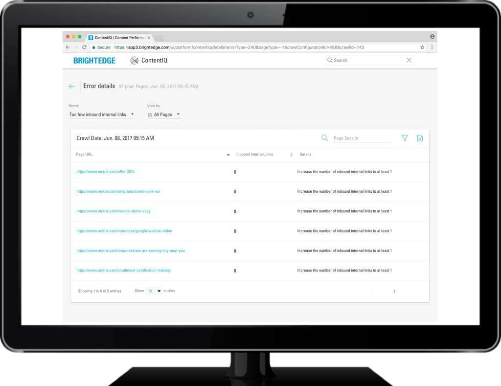 ContentIQ - orphan pages audit results - in monitor - brightedge