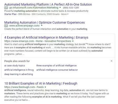 google serp for artificial intelligent in marketing for people also ask - brightedge