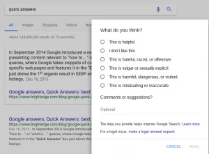 Google's Project Owl report form for rich snippets - brightedge