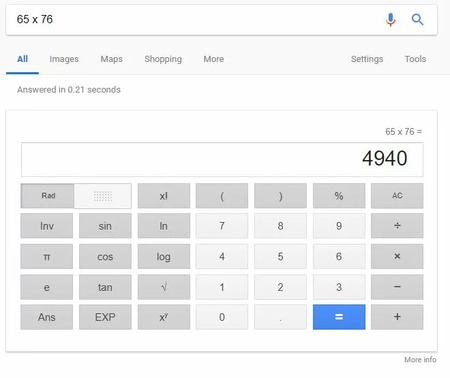 example of a google query-answer serps for a multiplication problem - brightedge