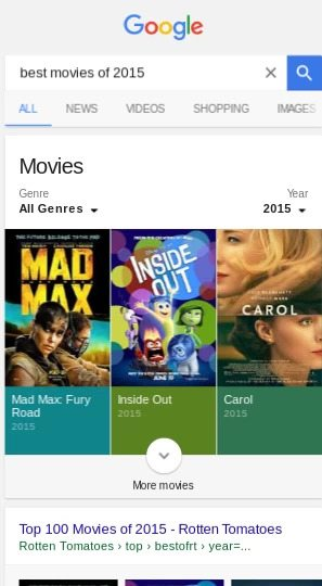 Google New Rich Card Carousel movies - brightedge