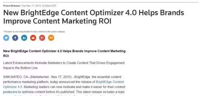 Reuters BrightEdge Content Optimizer for seo and pr