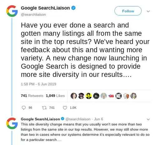 brighetdge shows Google announings their efforts to diversify SERP results