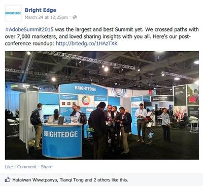 BrightEdge's Adobe Summit experience is shown across multiple social media platforms