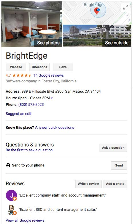 brightedge google my business screencap