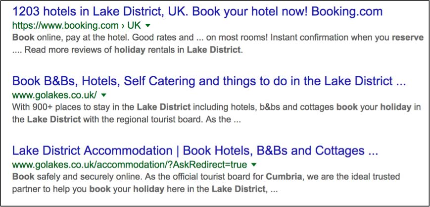 book a holiday in cumbria search results page