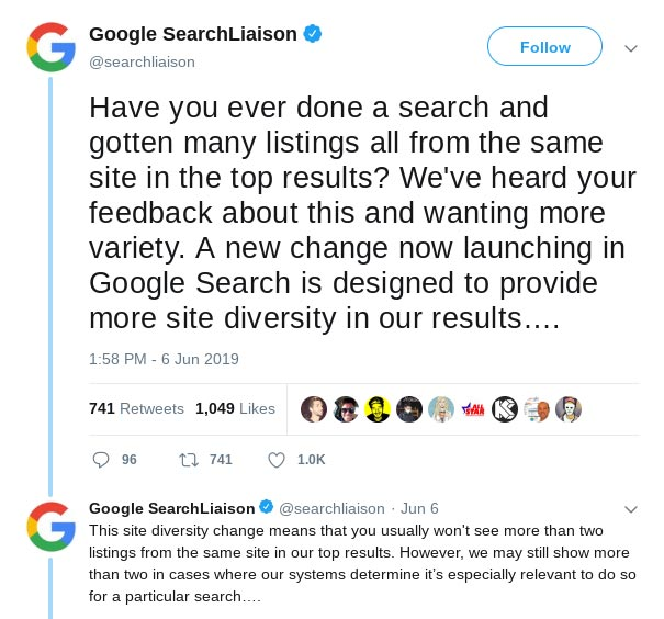 Google announces their efforts to diversity SERPs