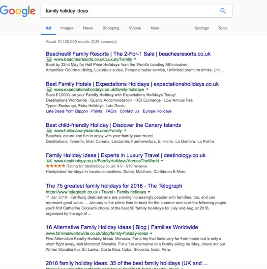 "keyword clustering: a search for ""family holiday ideas"" on Google"