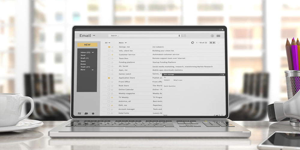 off-page seo laptop with email interface onscreen