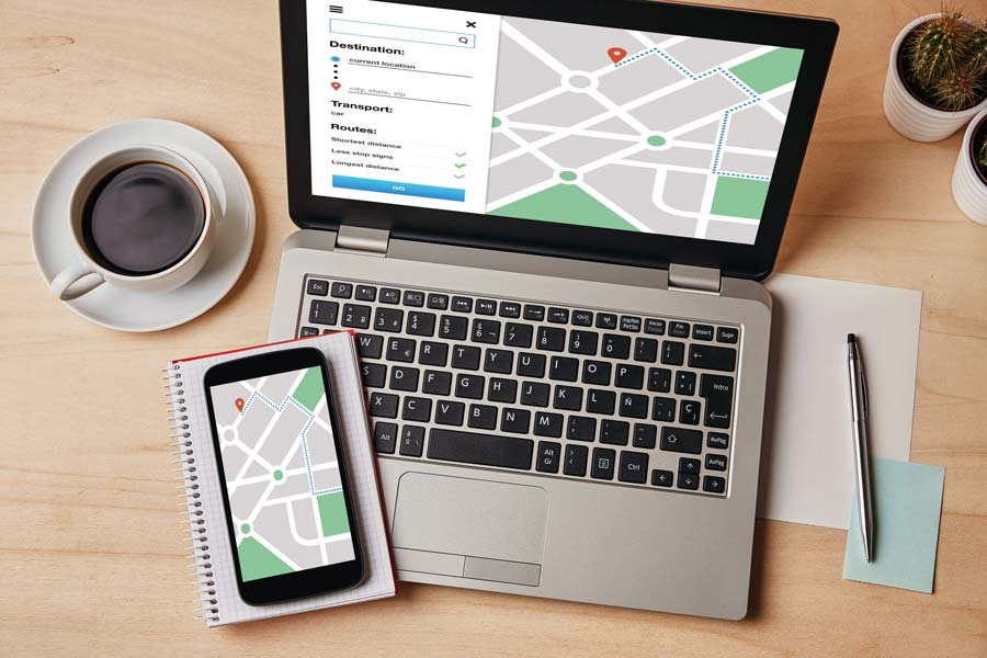 local customers mobile devices with map app open