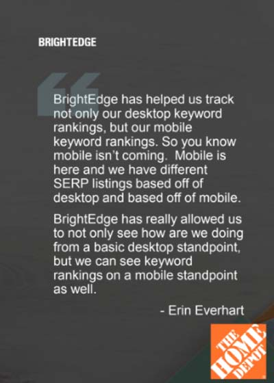 pull quote from home depot on mobile keyword rankings