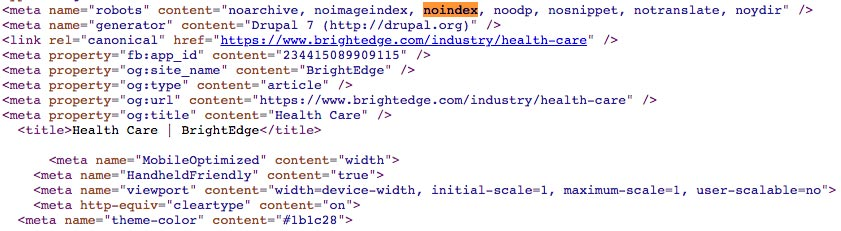 example of noindex tag on paginated category page meta section
