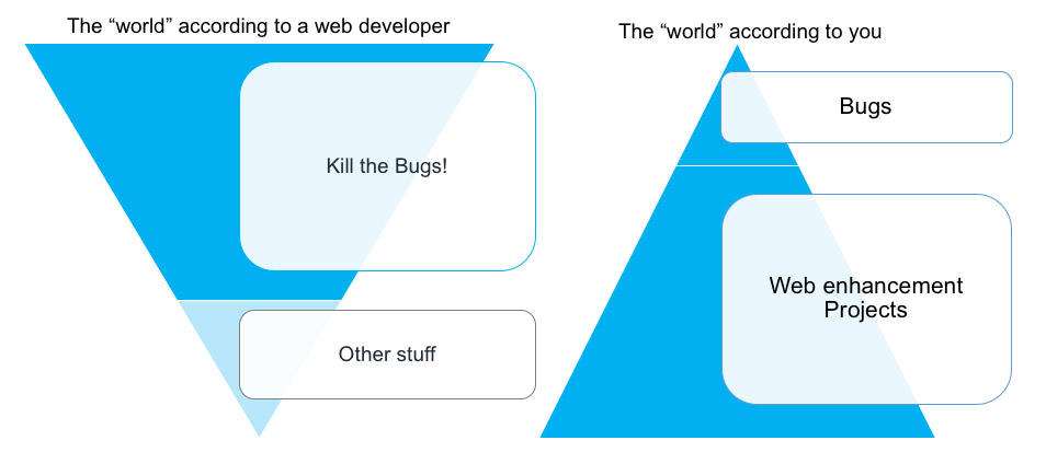 the mismatched worlds of expectations for web developers versus expectations for website owners