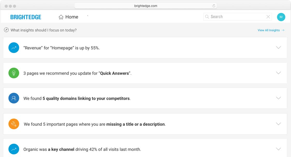 screenshot of insights subscriptions