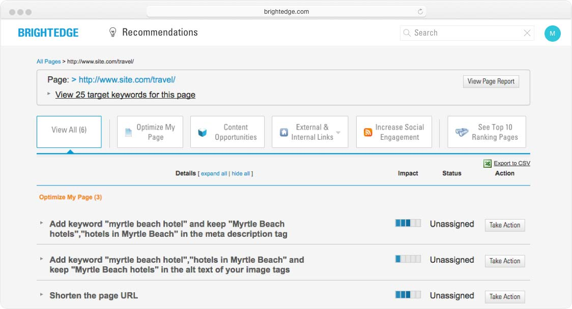 screenshot of recommendations view all interface