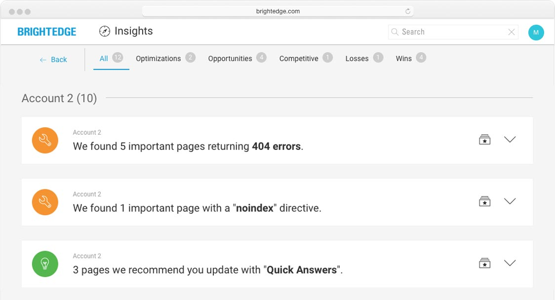 brightedge insights screenshot of all insights