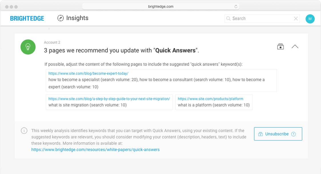 brightedge insights screenshot of recommended quick answers updates