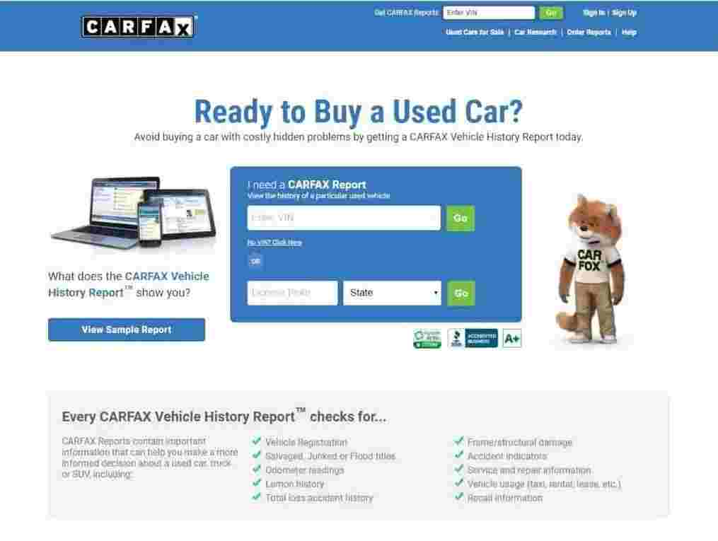 CARFAX Landing Page showing example of strong CTA - brightedge