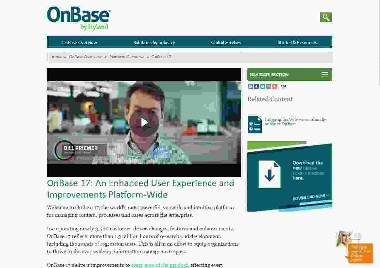 OnBase Landing Page showing example of embedded videos - brightedge