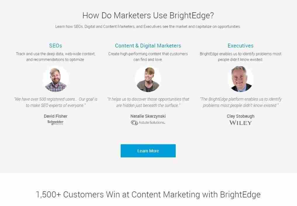 BrightEdge Landing Page showing example of testimonials relevant to targeted audiences