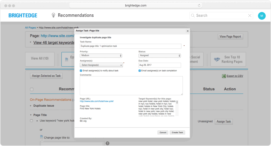 recommendations task assignment interface
