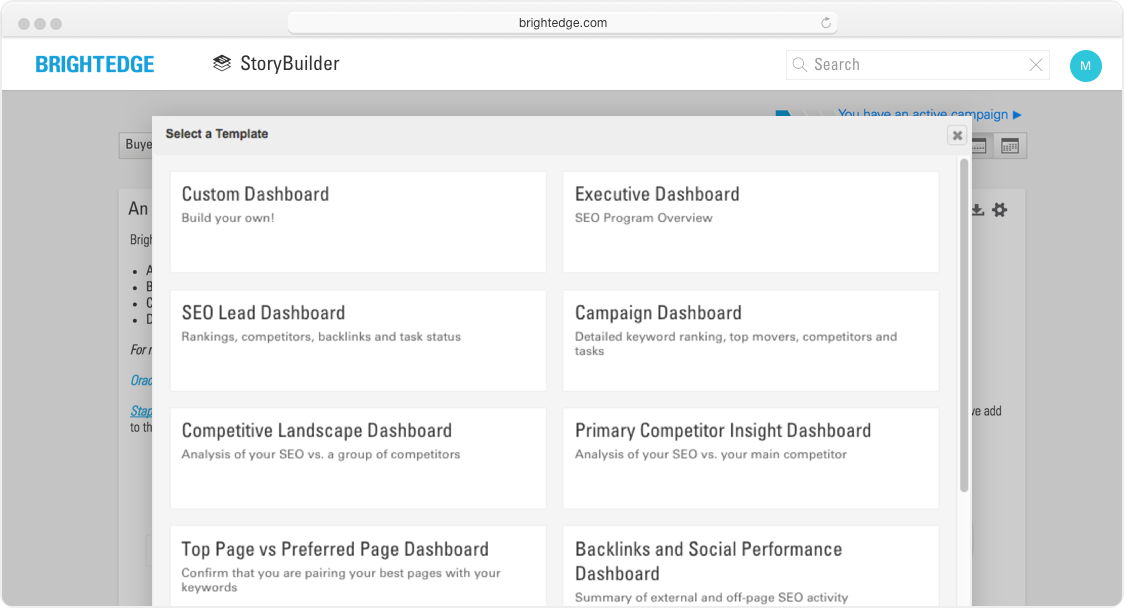 storybuilder dashboards custom dashboards interface